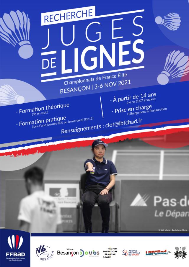 RECHERCHE JUGES DE LIGNES – CHAMPIONNATS de FRANCE ÉLITE 2021